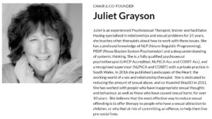 Juliet Grayson with StopSO photo and bio