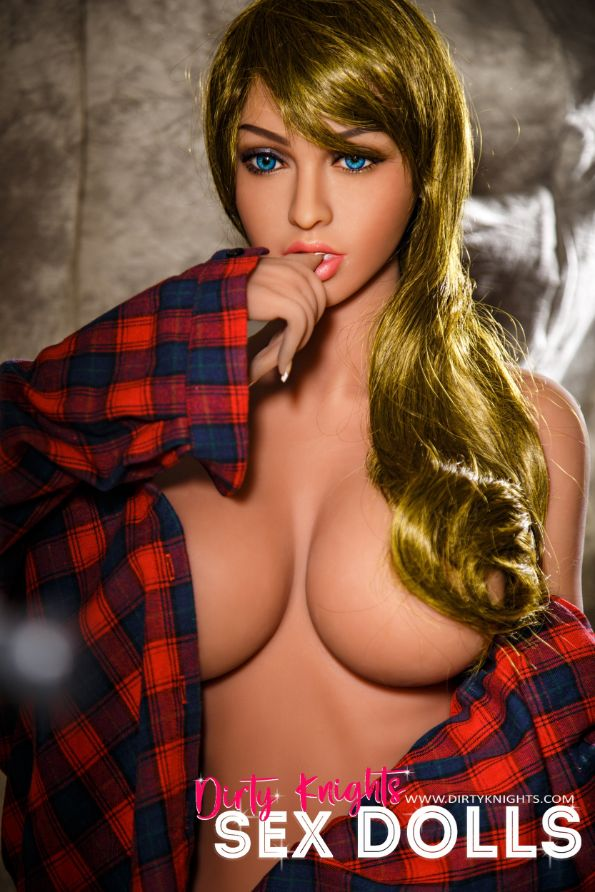 Jana Sex Doll wearing plaid shirt and posing nude at Dirty Knights Sex Dolls studio (15)
