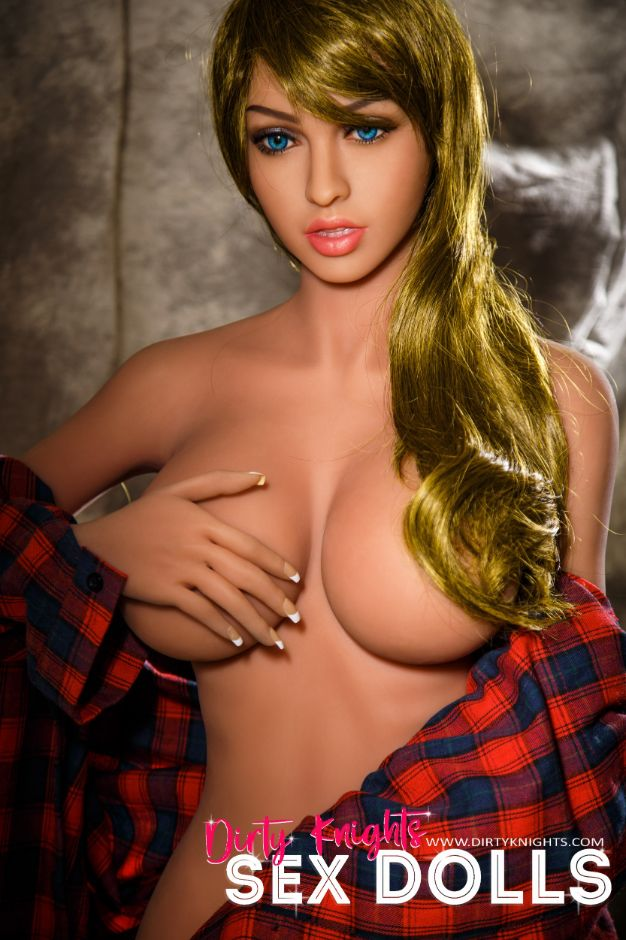 Jana Sex Doll wearing plaid shirt and posing nude at Dirty Knights Sex Dolls studio (18)