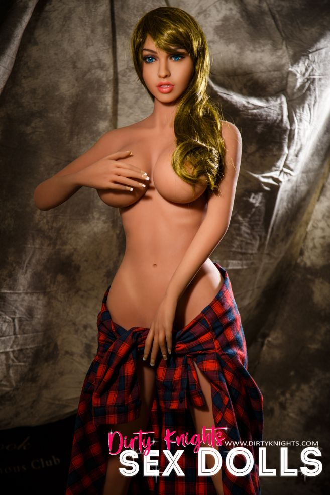 Jana Sex Doll wearing plaid shirt and posing nude at Dirty Knights Sex Dolls studio (19)