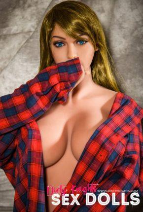 Jana Sex Doll wearing plaid shirt and posing nude at Dirty Knights Sex Dolls studio (2)