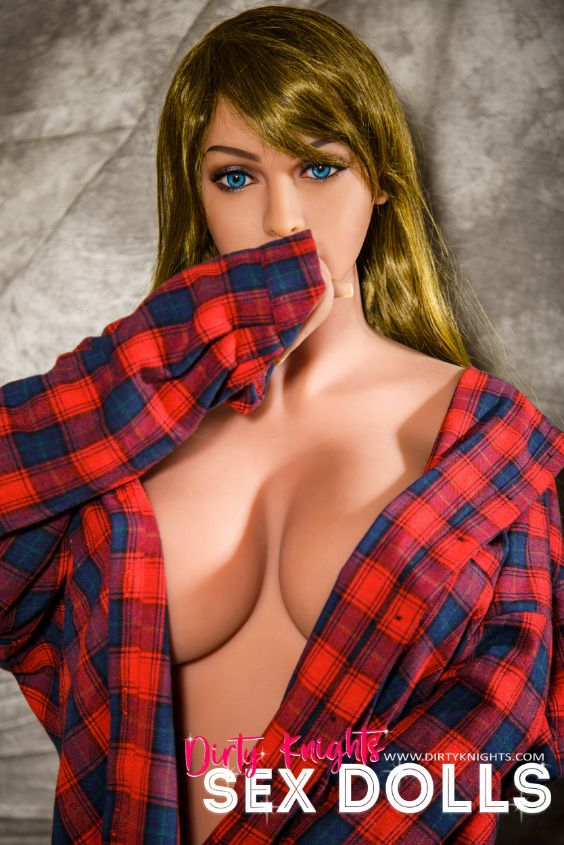 Jana Sex Doll wearing plaid shirt and posing nude at Dirty Knights Sex Dolls studio (2)