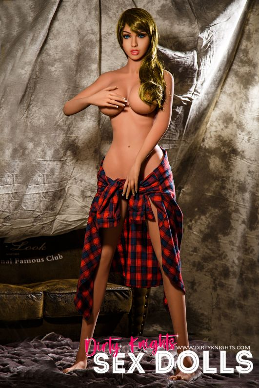 Jana Sex Doll wearing plaid shirt and posing nude at Dirty Knights Sex Dolls studio (20)