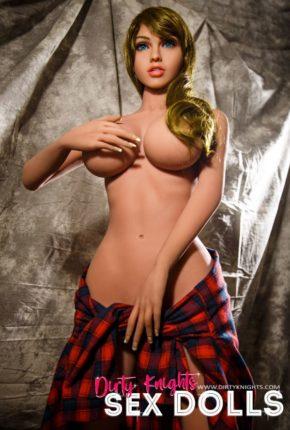 Jana Sex Doll wearing plaid shirt and posing nude at Dirty Knights Sex Dolls studio (21)