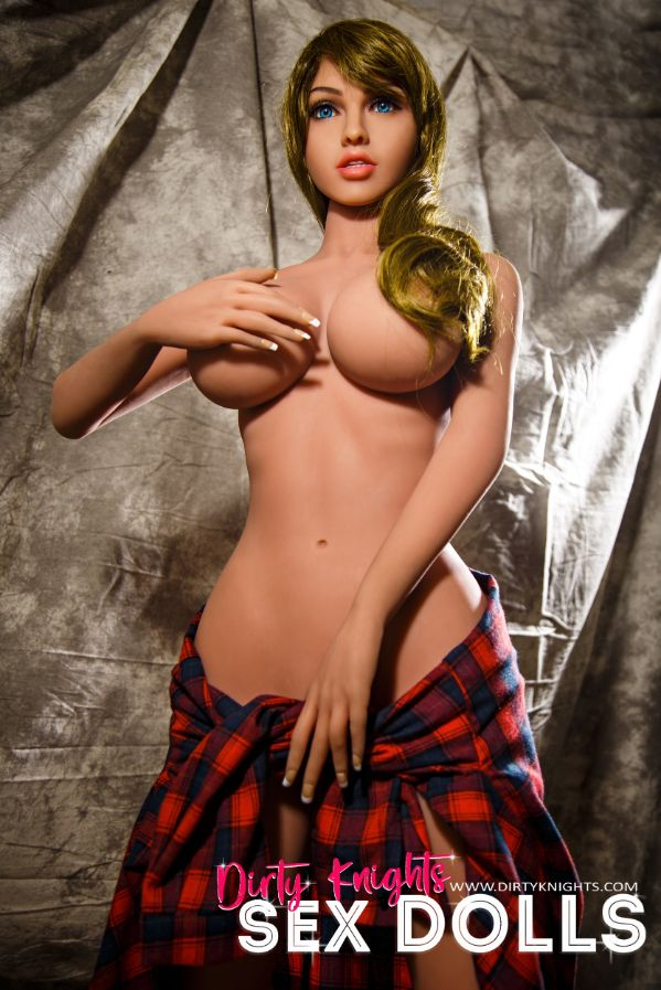 Jana Sex Doll wearing plaid shirt and posing nude at Dirty Knights Sex Dolls studio (21)