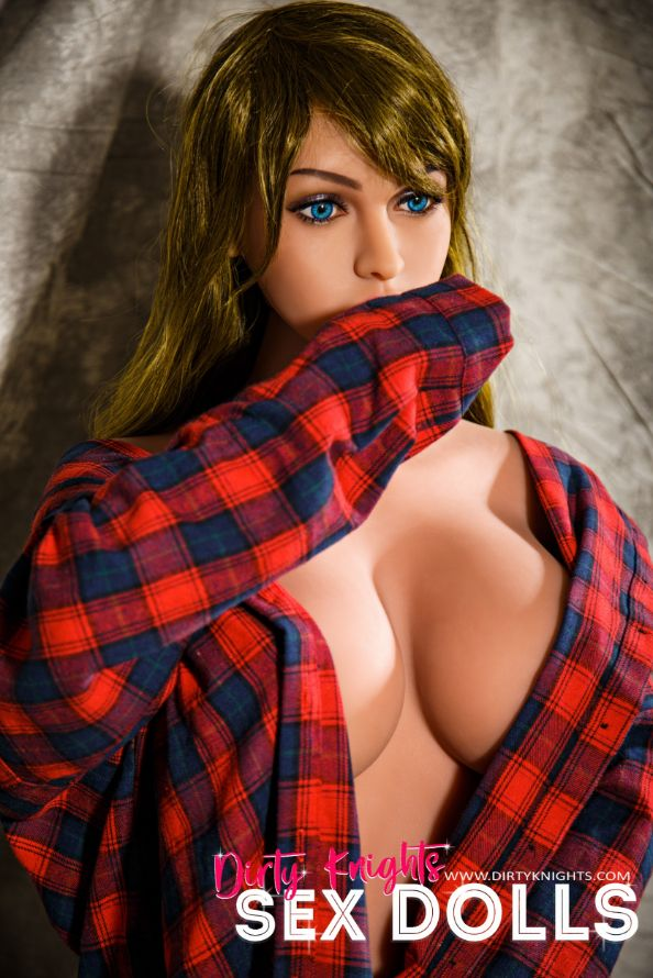 Jana Sex Doll wearing plaid shirt and posing nude at Dirty Knights Sex Dolls studio (3)