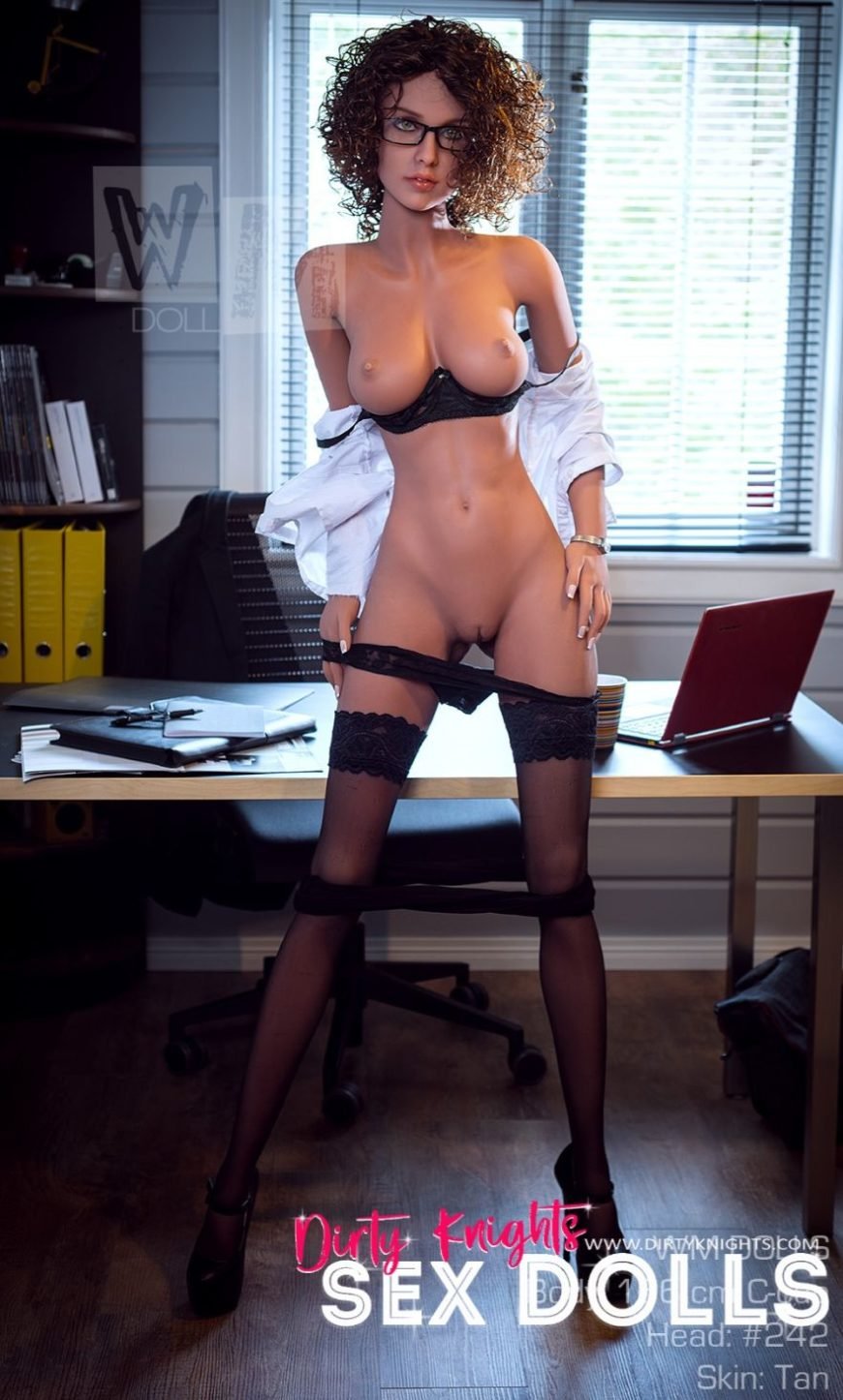 Beautiful sex doll created for Dirty Knights Sex Dolls posing nude at office (7)