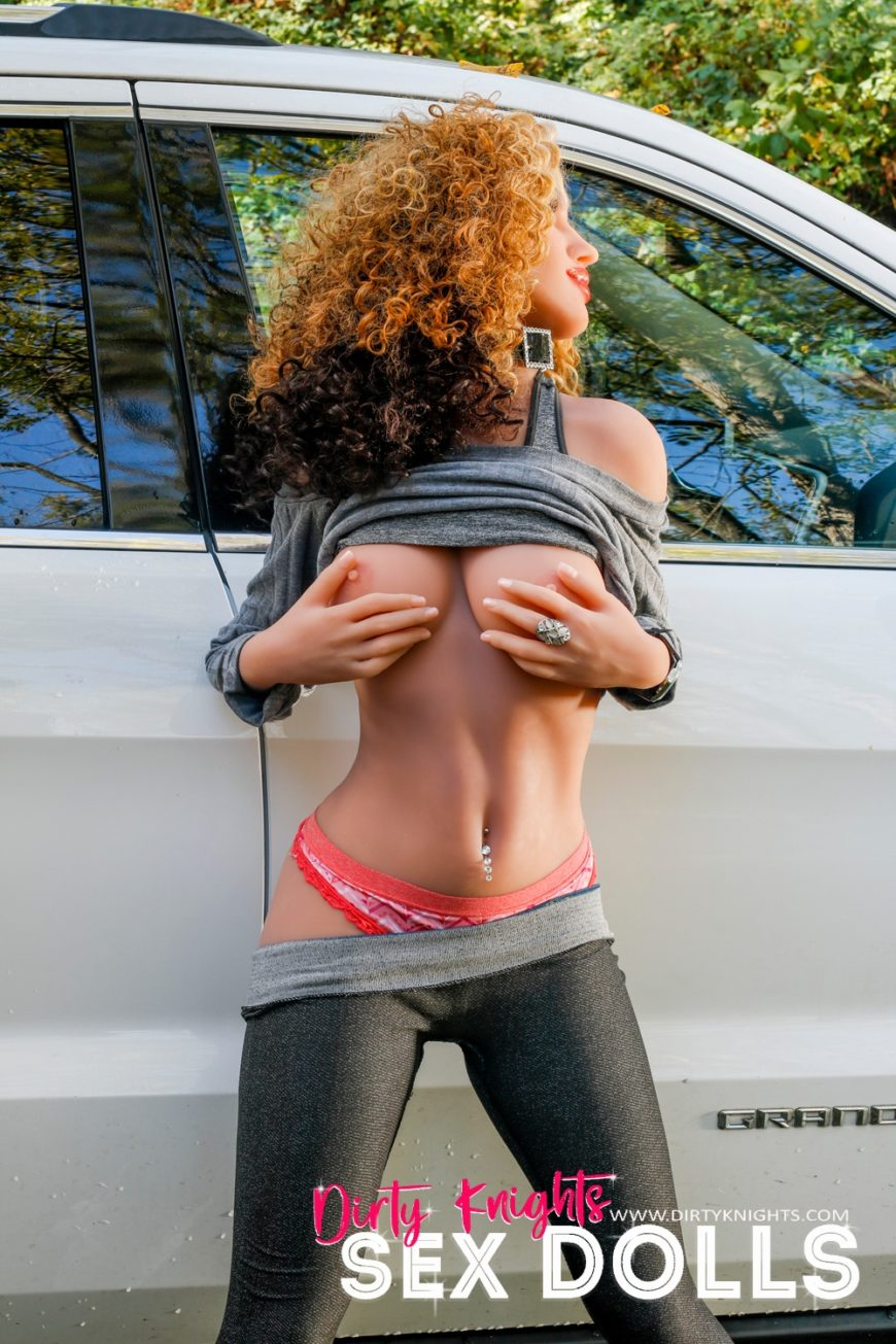 Sex Doll Erica from Dirty Knights Sex Dolls posing nude by her car (10)