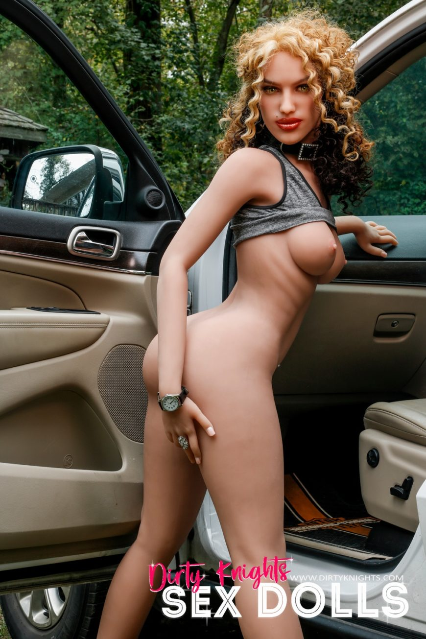 Sex Doll Erica from Dirty Knights Sex Dolls posing nude by her car (26)