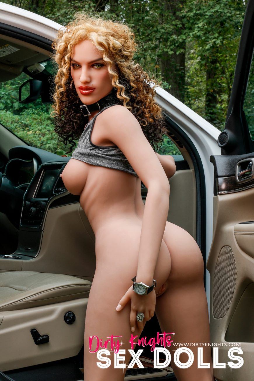 Sex Doll Erica from Dirty Knights Sex Dolls posing nude by her car (27)