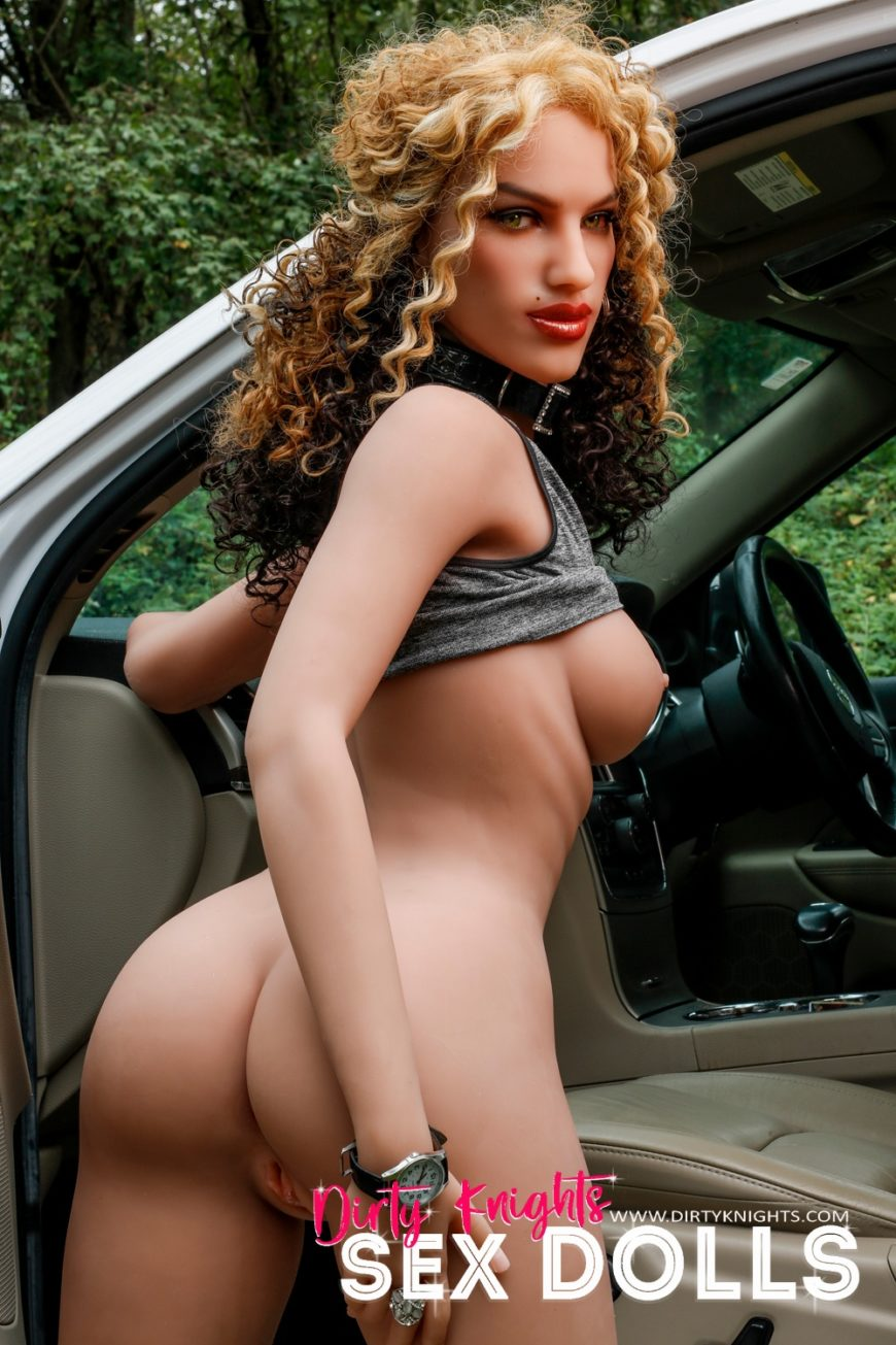 Sex Doll Erica from Dirty Knights Sex Dolls posing nude by her car (28)