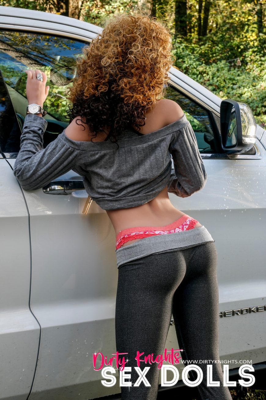 Sex Doll Erica from Dirty Knights Sex Dolls posing nude by her car (7)