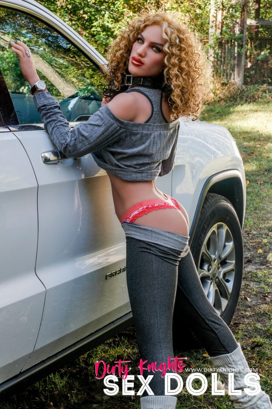 Sex Doll Erica from Dirty Knights Sex Dolls posing nude by her car (9)