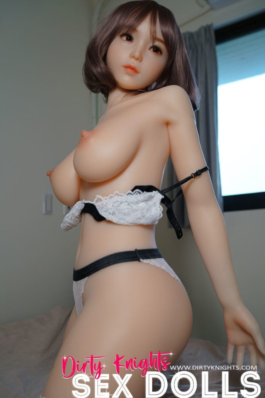 Akira silicone sex doll posing sexy before shower for Dirty Knights Sex Dolls website (11)