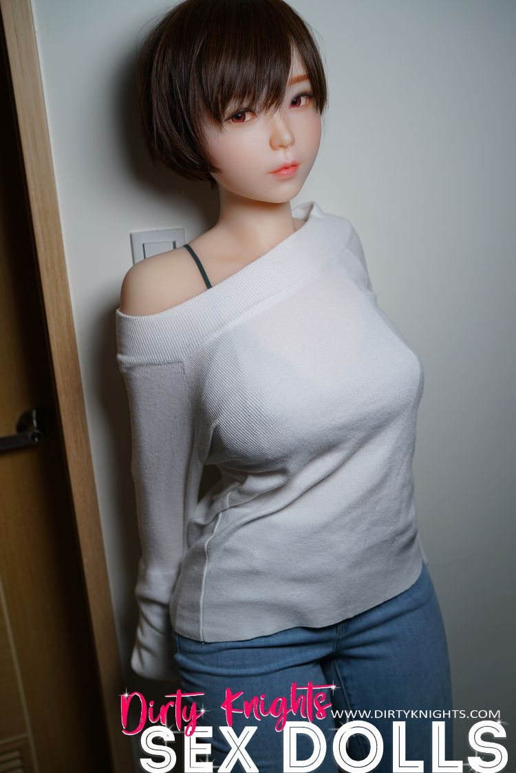 Akira silicone sex doll posing sexy before shower for Dirty Knights Sex Dolls website (16)