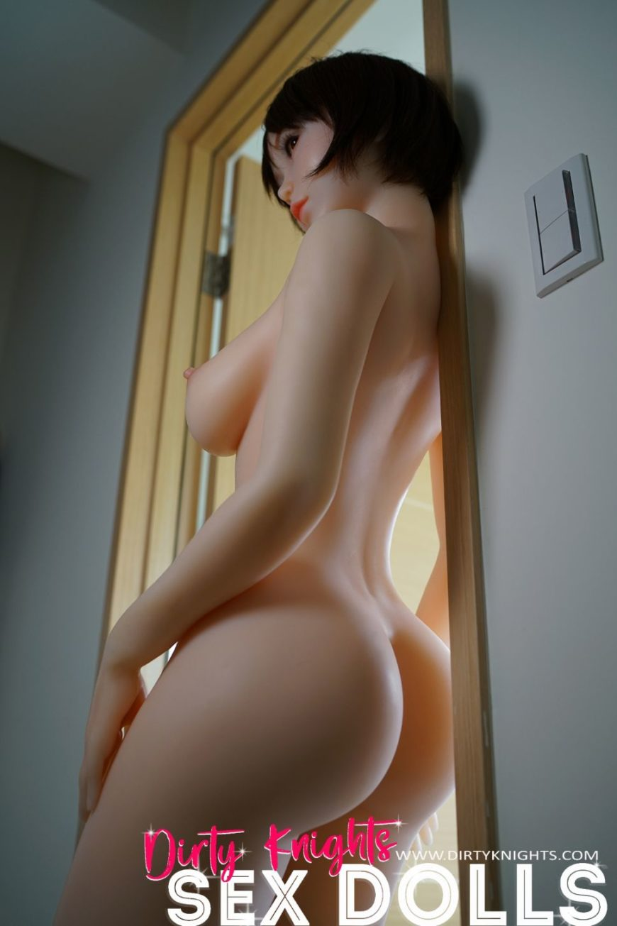 Akira silicone sex doll posing sexy before shower for Dirty Knights Sex Dolls website (31)