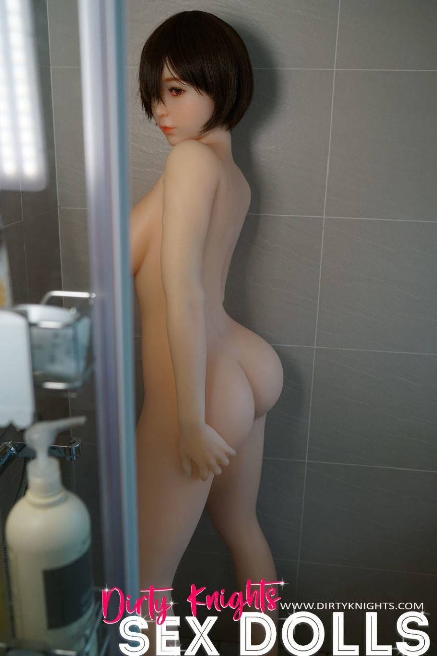 Akira silicone sex doll posing sexy before shower for Dirty Knights Sex Dolls website (38)