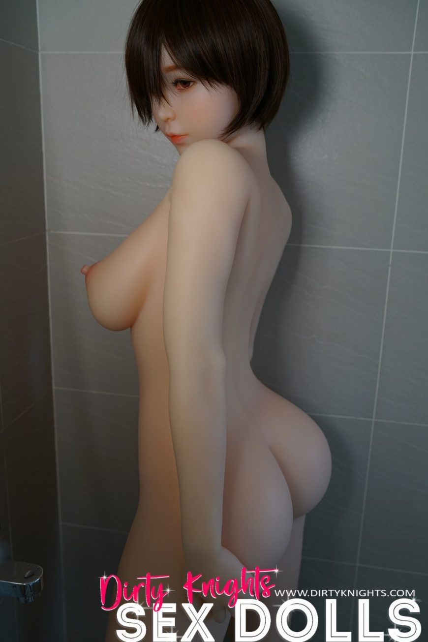 Akira silicone sex doll posing sexy before shower for Dirty Knights Sex Dolls website (40)