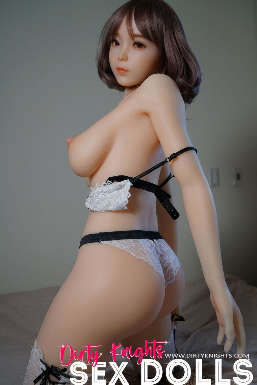 Akira silicone sex doll posing sexy before shower for Dirty Knights Sex Dolls website (9)